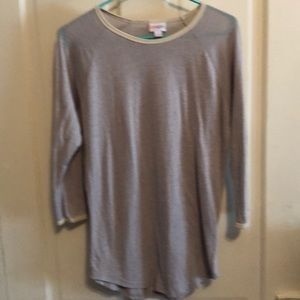 Lularoe Randy top solid beige with cream ringer
